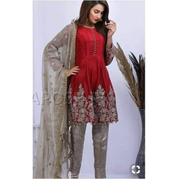 Chiffon Embroidery Suit With Heavy Net Embroidery Dupatta