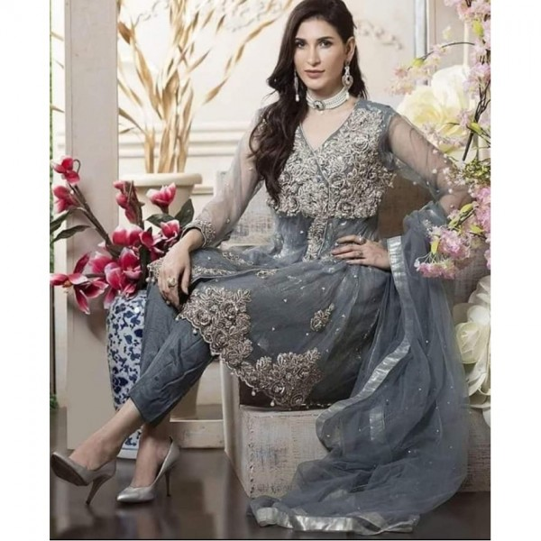Grey Color Net embroidery suit