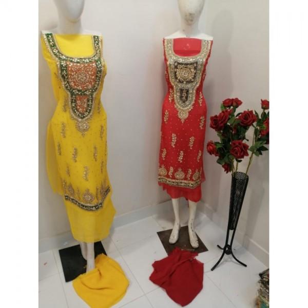 Bridal hand made gota work Dress Chiffon Dopatta and Shirt