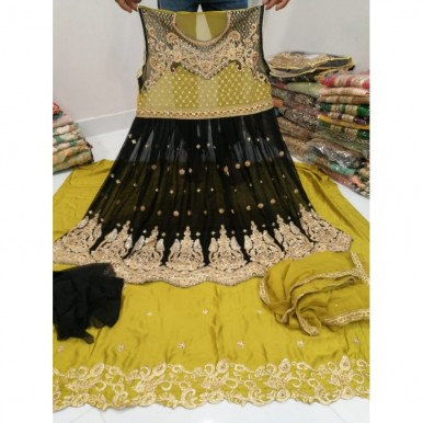 Embroidery party wear frock with silk trouser