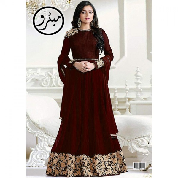 Maroon Color Embroidered Maxi for Her