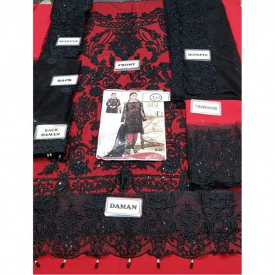 Black and Red Net Embroidered Dress for Ladies