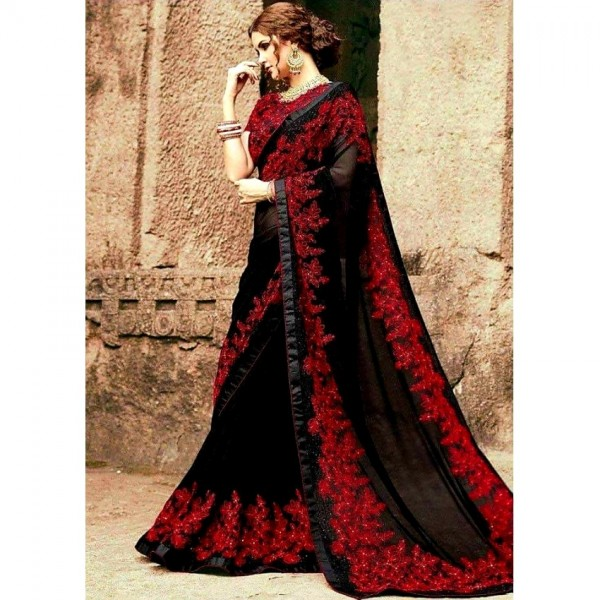 Black Color Indian chiffon saree with Red Border