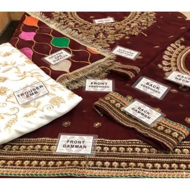 Bridal Style Chiffon Embroidered Dress With Chiffon Embroidered Dupatta