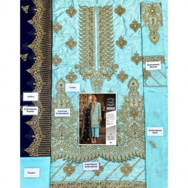 Combination of Blue embroidered Handwork and Zari Work Dress