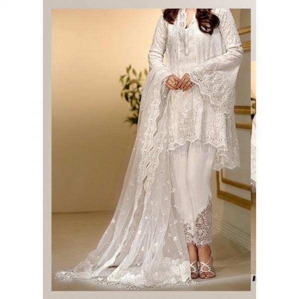 Luxury White Dress in chiffon fabric