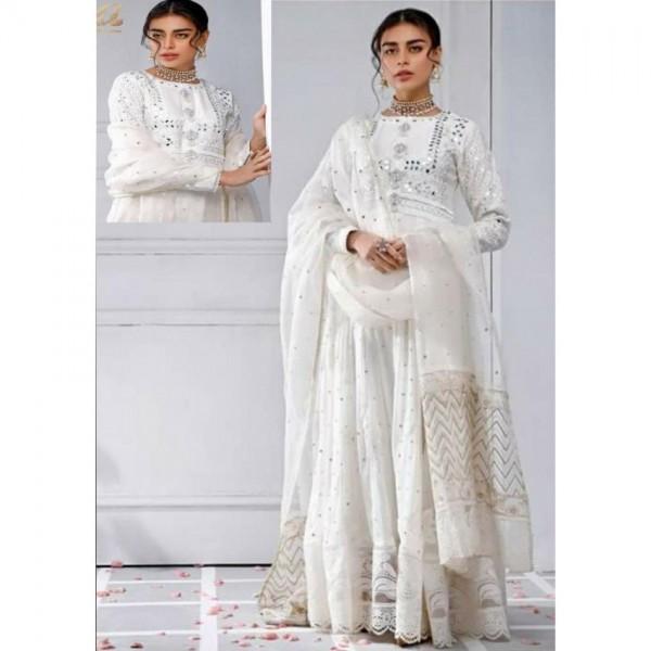Luxury white chiffon dress with mirror work