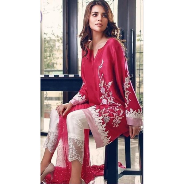 Beautiful Embroidered Silk Dress for Her