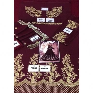 Chiffon Embroidery maxi in Maroon Colour