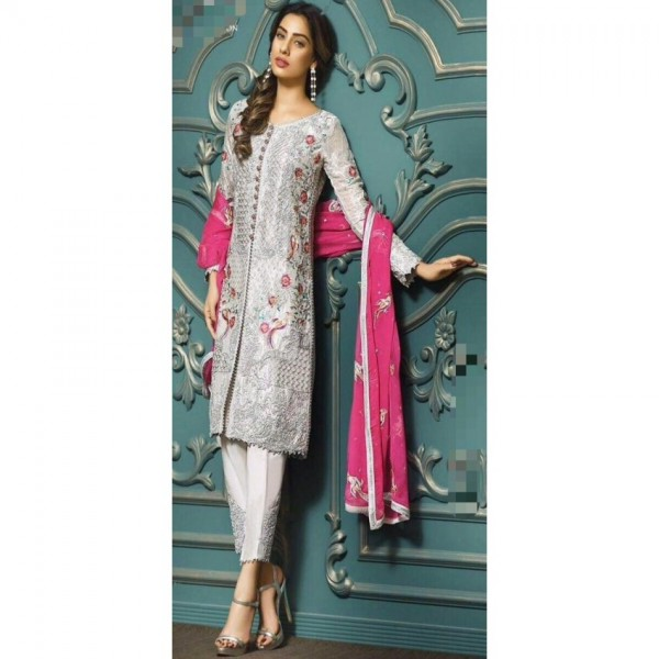 fully dori and sequence embroidery grey dress