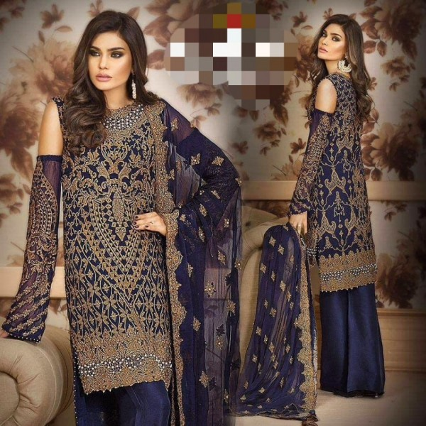 Elegant Blue Chiffon suit with golden embroidery