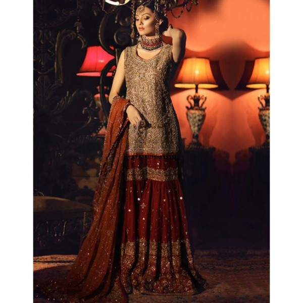 Chiffon Embroidered bridal collection dress