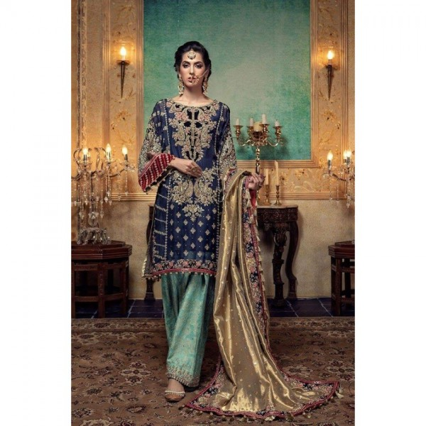 Navy Blue Chiffon embroidered dress for womens