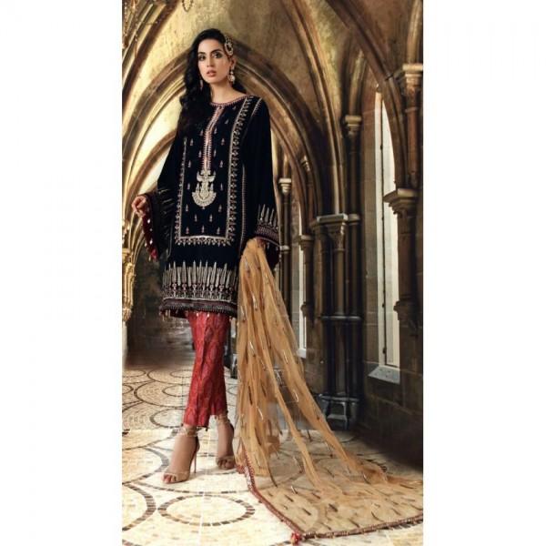 Velvet embroidered Dress in Latest Design for Ladies