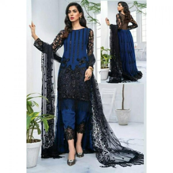 Blue Color Sequence Embroidered Dress for Her