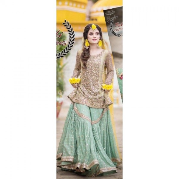 Bridal net embroidered dress in pista and yellow combination