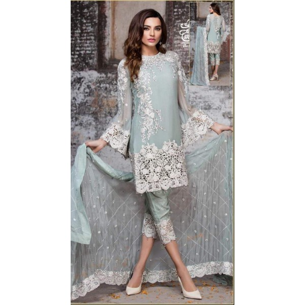 Cool Colour Chiffon Embroidered Dress for Her