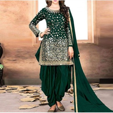 Chiffon Bridal Embroidery Suit With Chiffon Embroidery Dupatta with Mirror Work