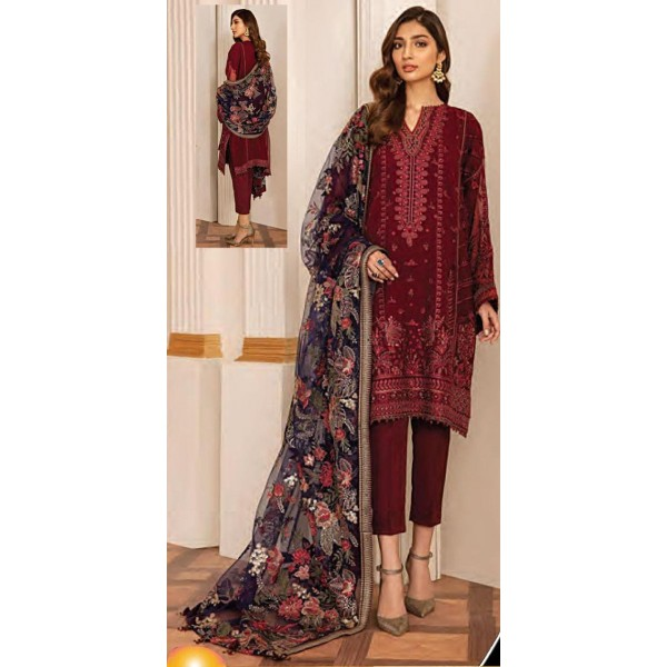 Chiffon embroidered Dress with Floral Dopatta