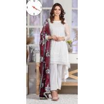 3pcs Unstitched White Chiffon Dress with heavy embroidered dupatta