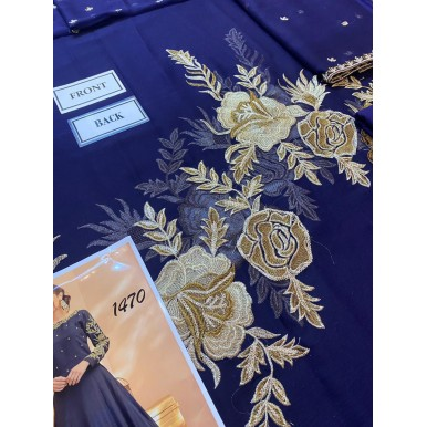 Blue Color Embroidered Dress for Her