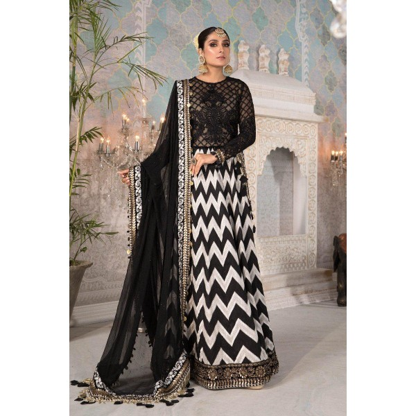 Black And White Chiffon Unstitched wedding Suit For Women