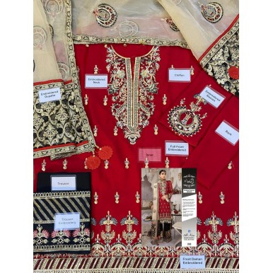 Red Colour Chiffon Dress With Organza Embroidered Dupatta