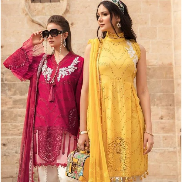 Chickenkari lawn collection 2021 in Maroon and Mustard Color