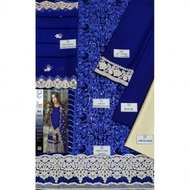 Blue Color Embroidered Dress for Ladies