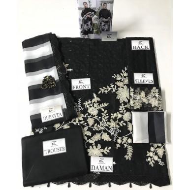 Stylish Cotton Embroidered Dress with Chiffon Dopatta