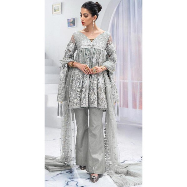 Eid Special Grey Color Embroidered Dress