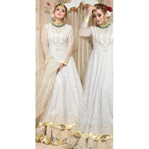 White Color Embellished Maxi for Her