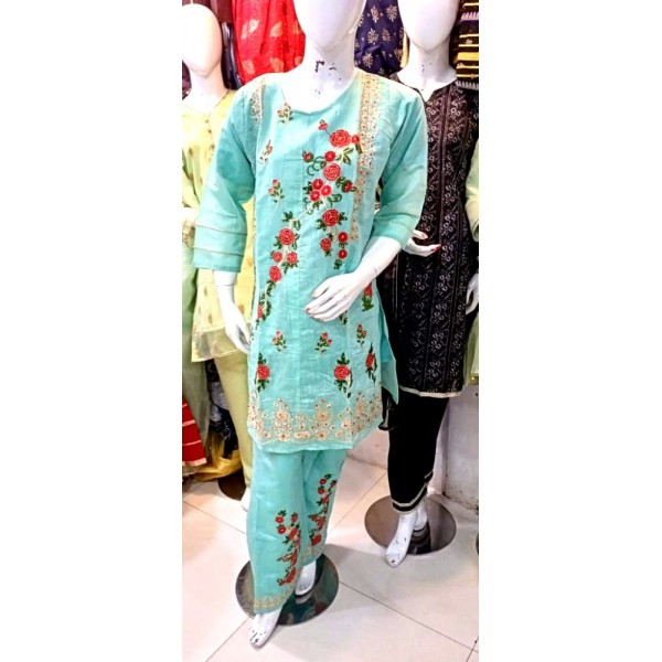 Embroidered Paper Cotton Stitched Dress
