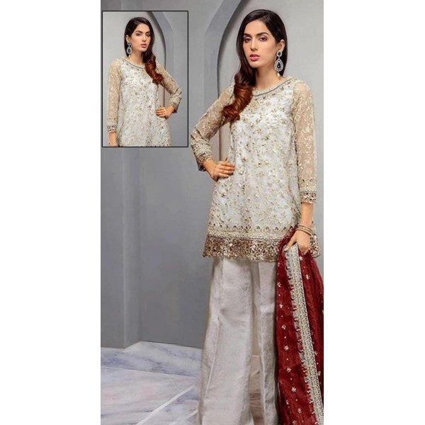 Grayish net embroidered suit with Red Dupatta