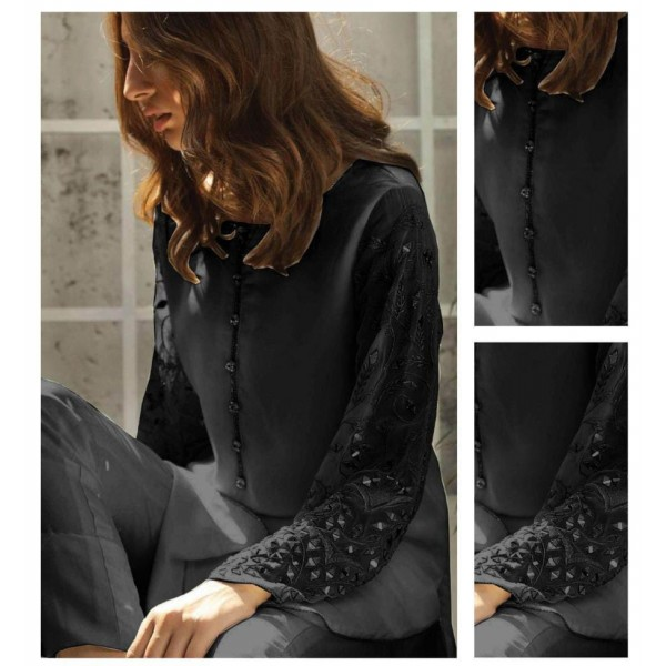 Chiffon Dress with Mirror Work on Sleeves