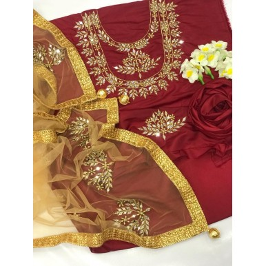 3pcs Embroidered Mirror Work dress for her