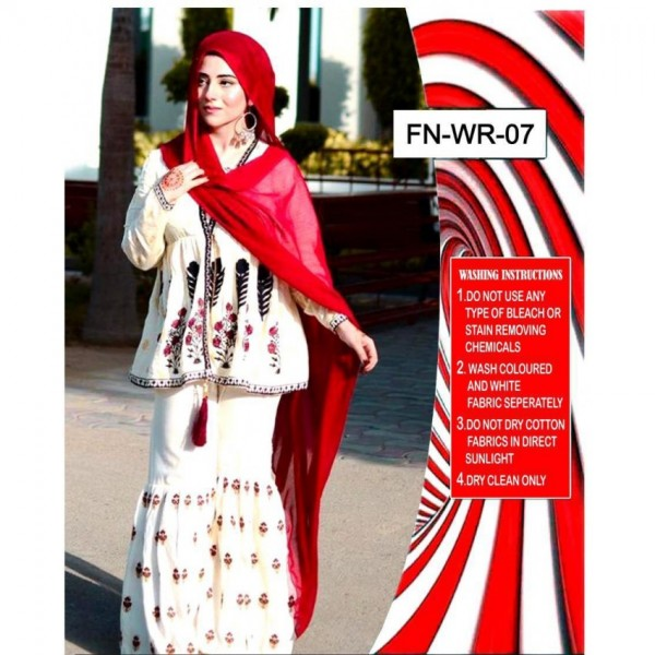 Red and White Lawn Embroidery Dress with Chiffon Dupatta