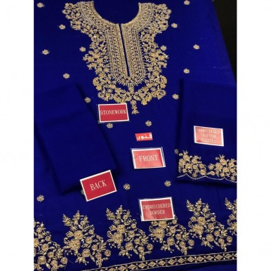 2 pcs Embroidered Dress in Blue Color