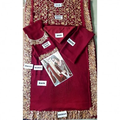 Maroon Color Chiffon Embroidery Saree