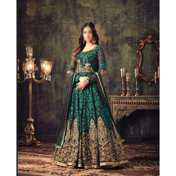 Indian Style Embroidered Frock for Women in Black and Green Combination FR-LB