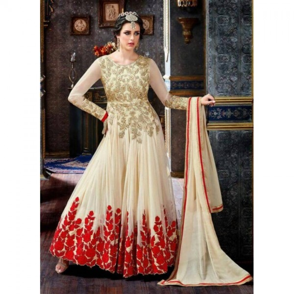 Offwhite Indian Frock with red embroidery LB_FR