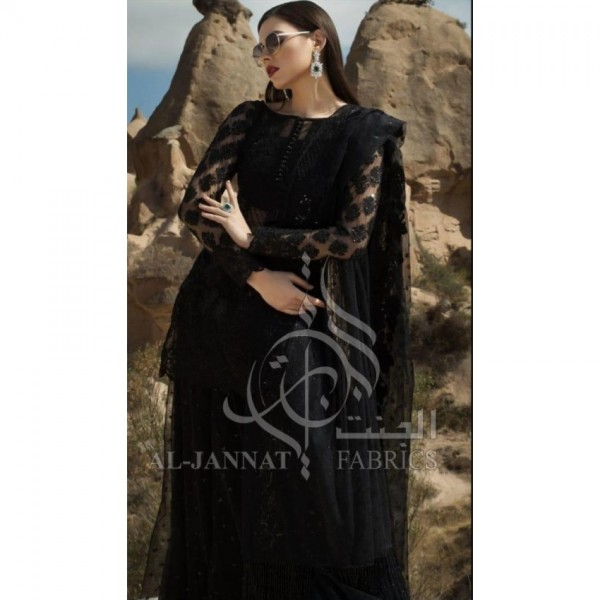 Black Net Embroidered Cut worked Daman Patches Front & Back EID collection