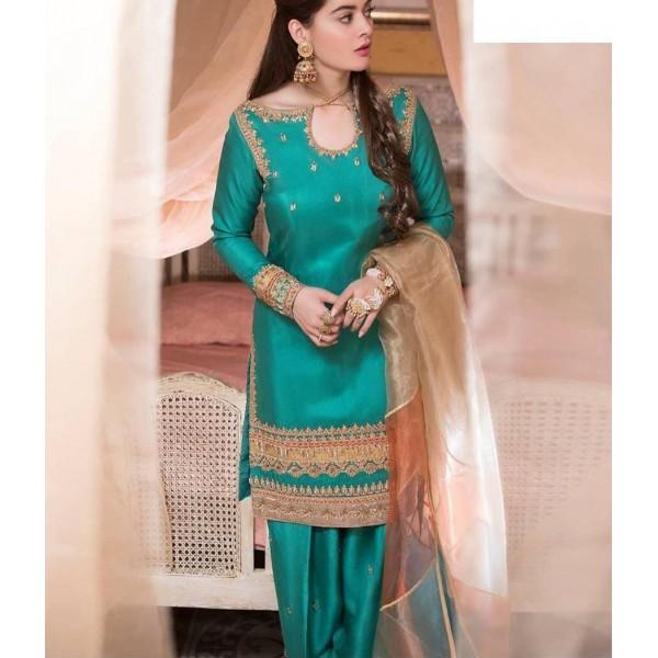 Luxury Silk Embroidered Dress with Net Dupatta