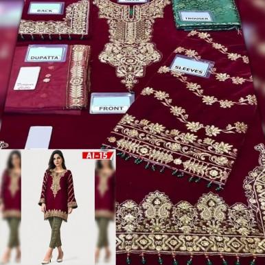 Maroon Color Velvet Embroidered Dress with Jamawar trouser