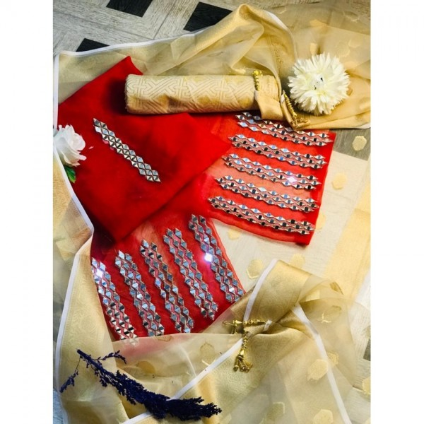 Wedding special unstitched Dress with Beautiful dopatta