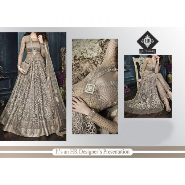 BEAUTIFUL LUXURY DRESS FOR WEDDING - Beige and golden color net embroidered dress with clutch