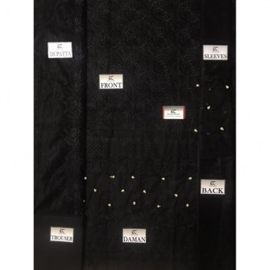 Heavy Embroidered Net Dress in Black Color