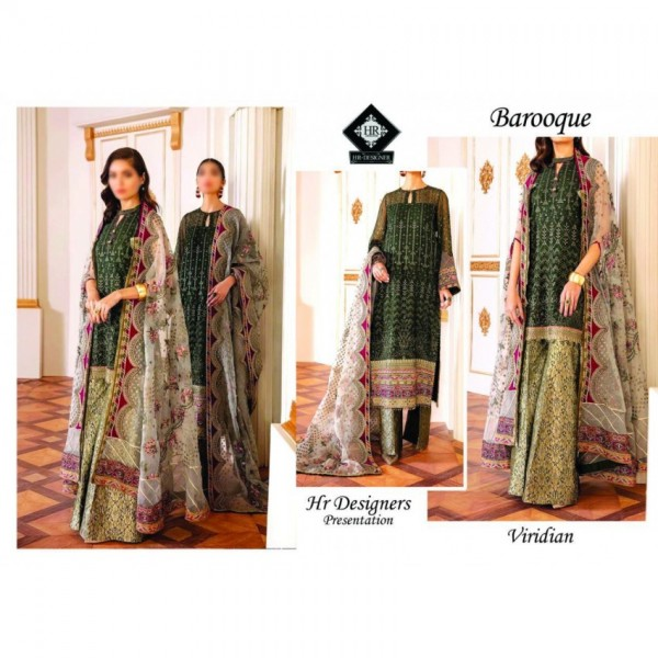 Luxury embroidered Dress with Jamawar Trouser