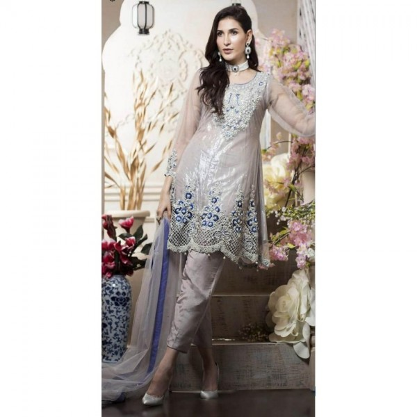Heavy Front and back Embroidered shirt with silk trouser wedding wear for women