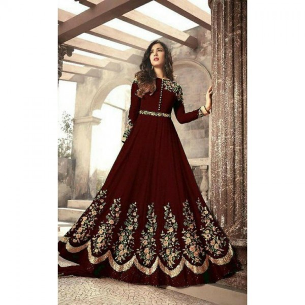 Maroon Color Indian Maxi for Her